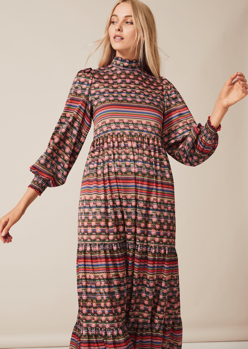 PHOEBE GRACE Dresses BETTY Midi Dress with puff sleeve and high neck in Multi Stripe