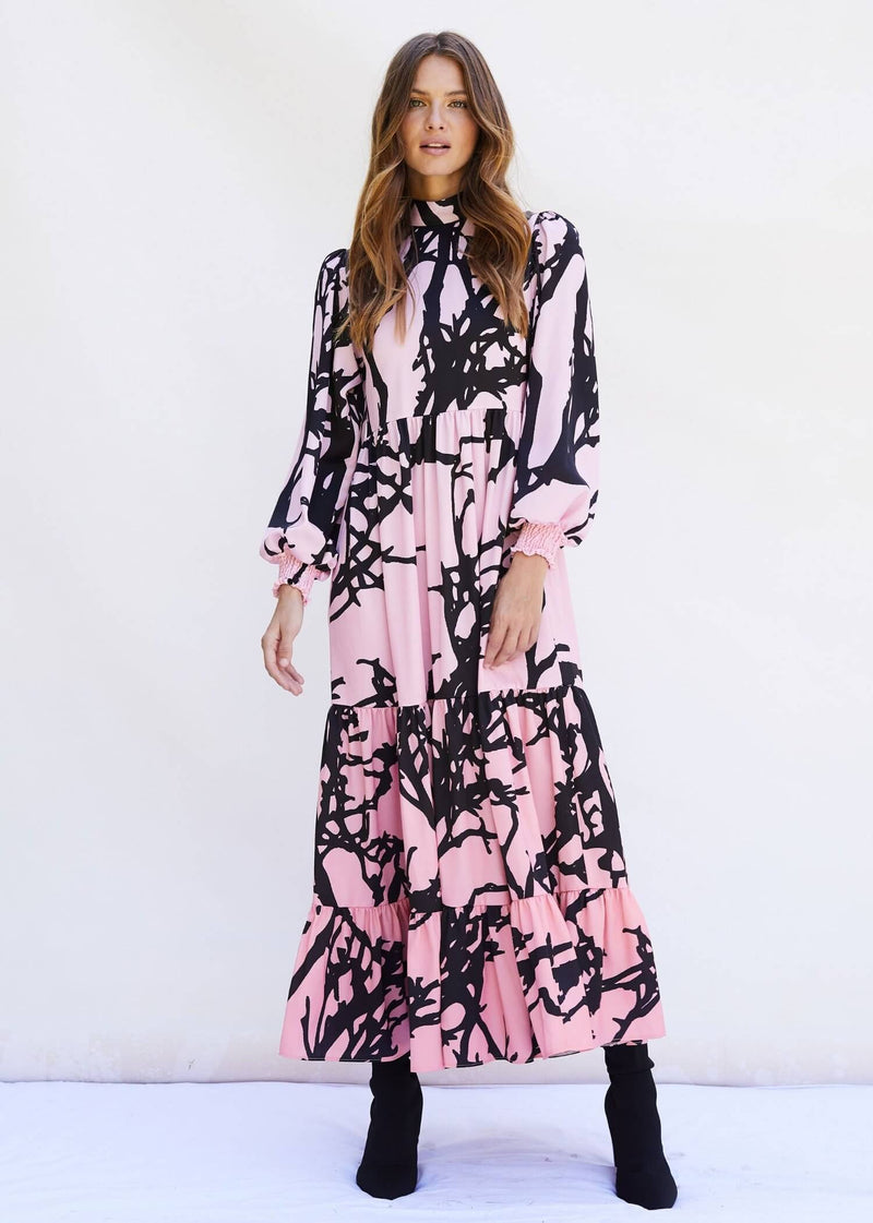 PHOEBE GRACE Dresses BETTY Midi Dress with puff sleeve and high neck in Pink Ombre Tree