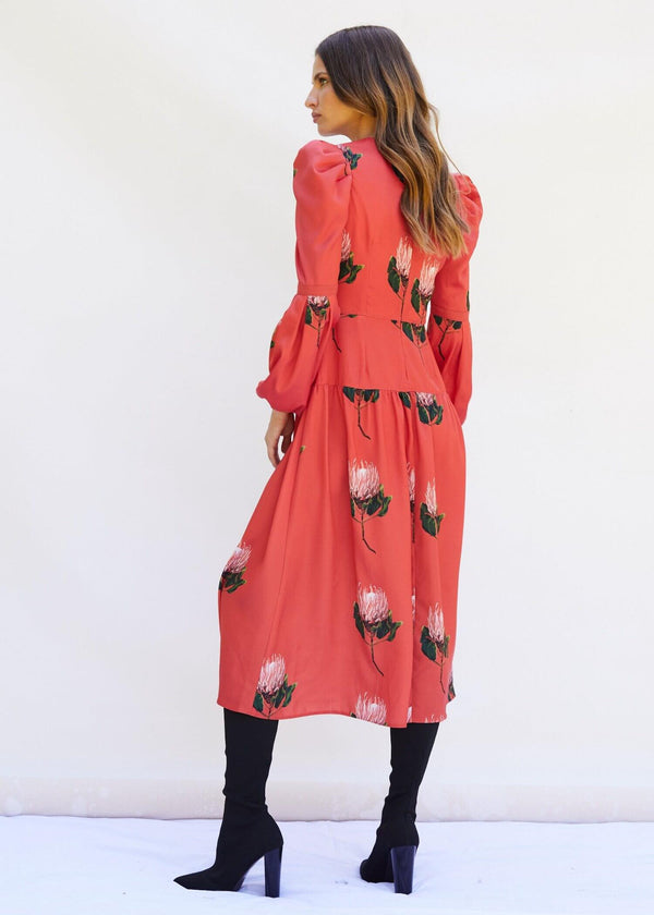 PHOEBE GRACE Dresses DAISY Midi Dress with puff sleeve and V-Neck in Red Protea