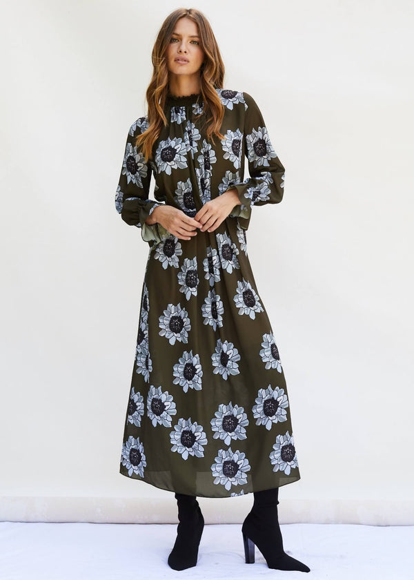 PHOEBE GRACE Dresses FELICITY Midi High Nick Dress in Blue and Olive Poppy