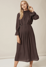 PHOEBE GRACE Dresses FELICITY Midi High Nick Dress in Small Black Protea