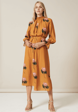 PHOEBE GRACE Dresses FELICITY Midi High Nick Dress in Yellow Protea