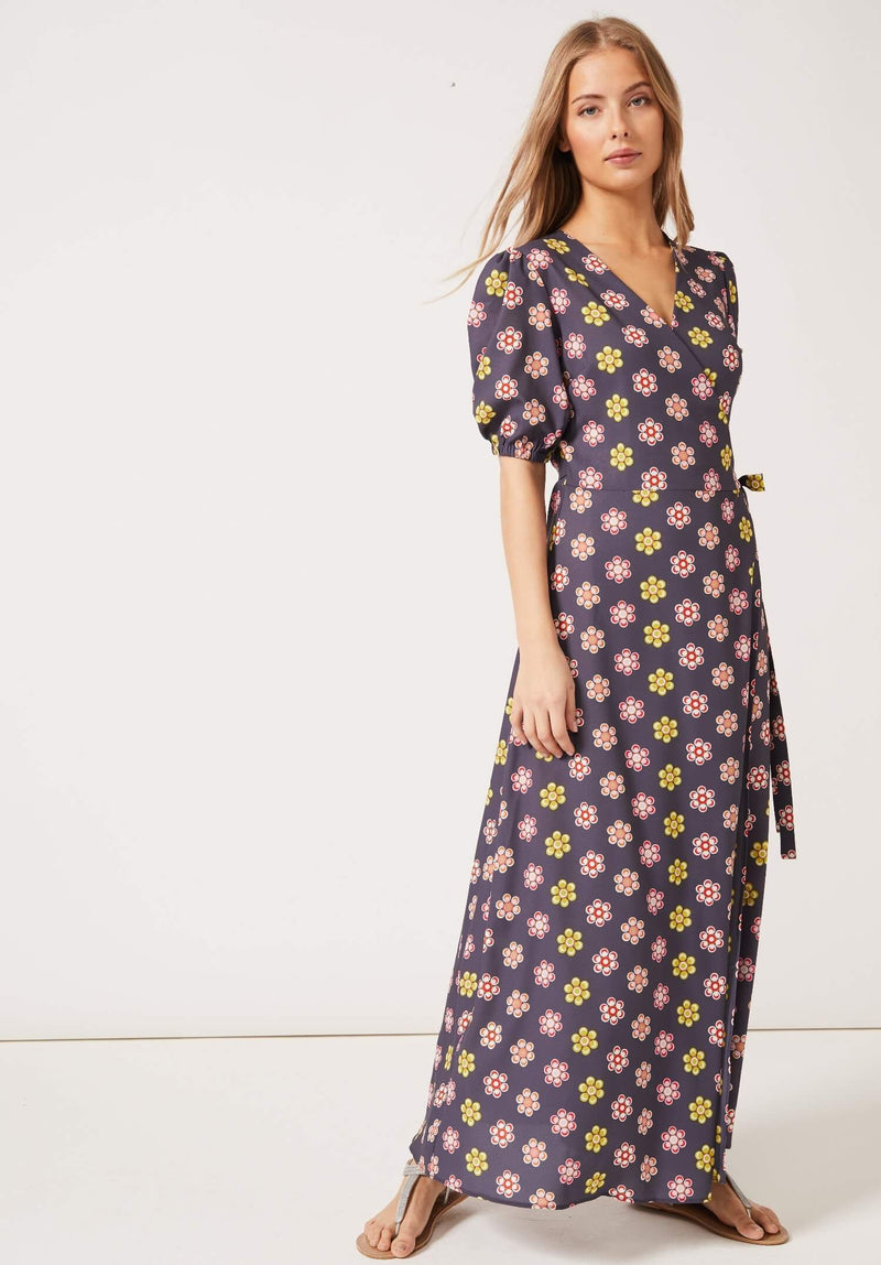 PHOEBE GRACE Dresses JOYCE V-neck Maxi Wrap Puff Sleeved Dress in our new Grey Daisy Print