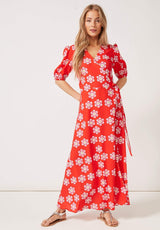 PHOEBE GRACE Dresses JOYCE V-neck Maxi Wrap Puff Sleeved Dress in our new Red Daisy print