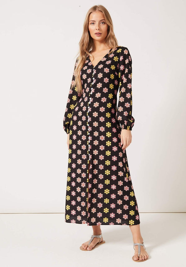 PHOEBE GRACE Dresses MATILDA V-neck Buttoned Front Long Puff Sleeved Dress Black Daisy