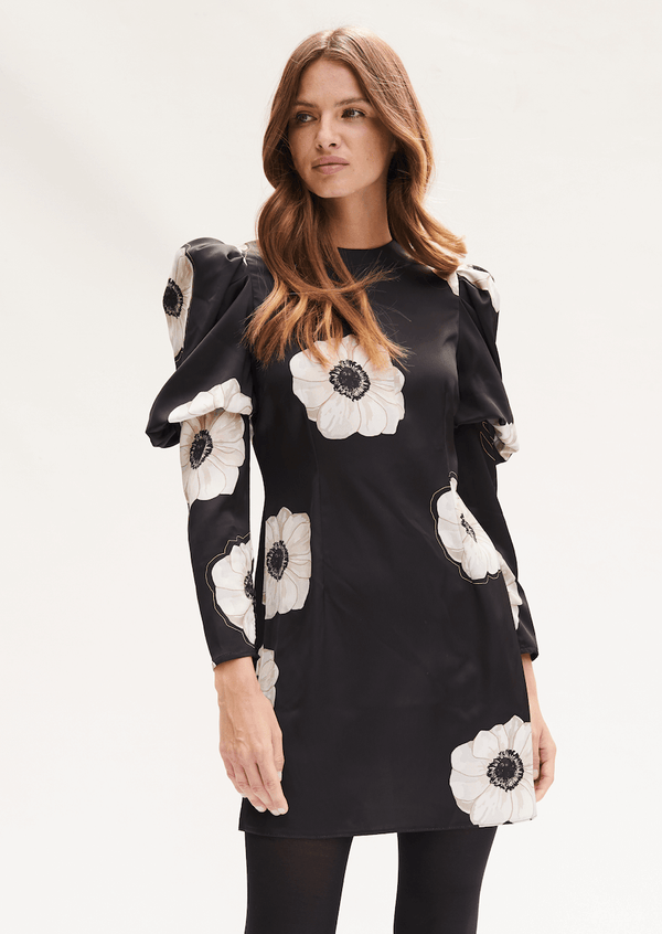 PHOEBE GRACE Dresses TALULAH Mini Dress with puffed long sleeve in Black and Cream Poppy