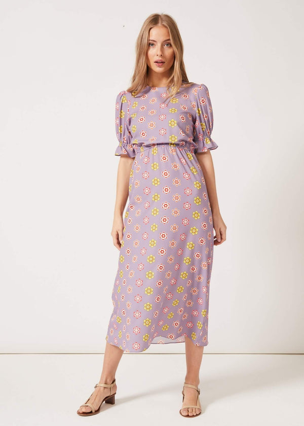 PHOEBE GRACE Dresses TILLY Round Necked Midaxi Puff Sleeved Dress Lilac Daisy