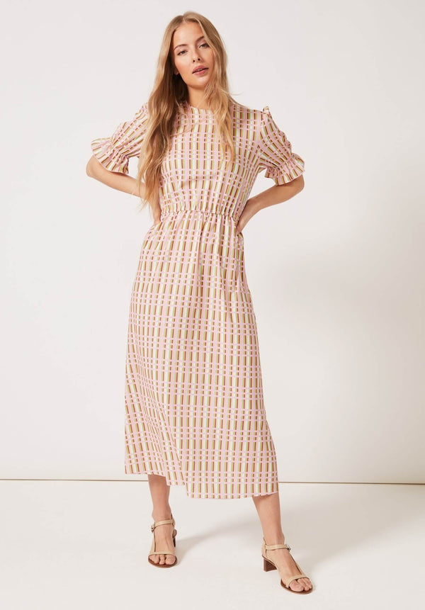 PHOEBE GRACE Dresses TILLY Round Necked Midaxi Puff Sleeved Dress Pink Check