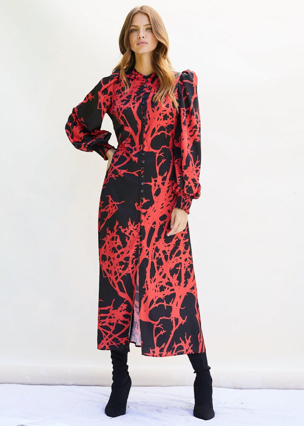 PHOEBE GRACE Dresses TRUDY Midi Dress with buttoned front in Red Tree