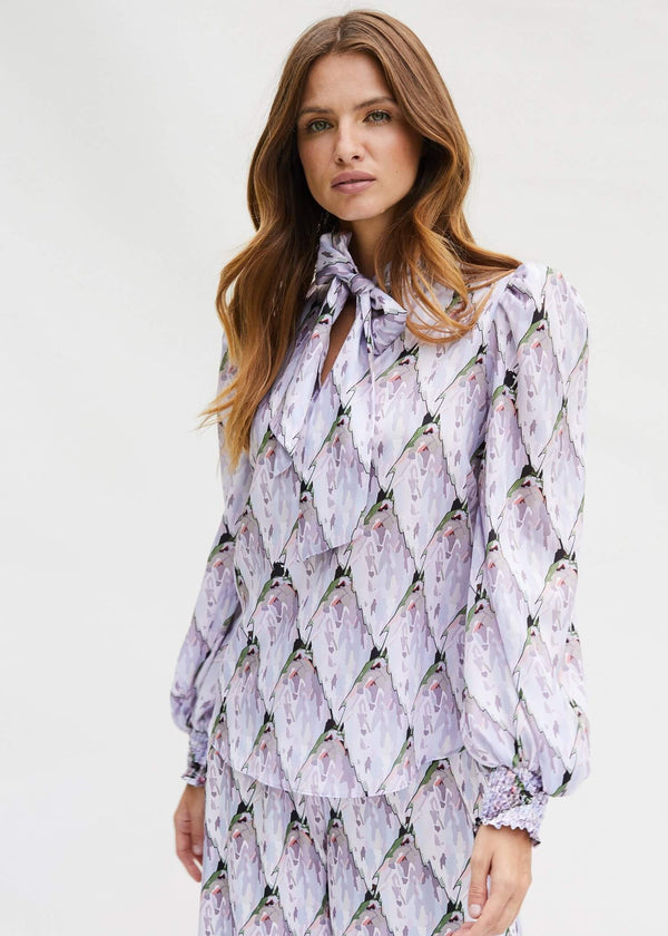 PHOEBE GRACE ESME Tie Neck Shirt with puff sleeve in Tiled Protea Bud