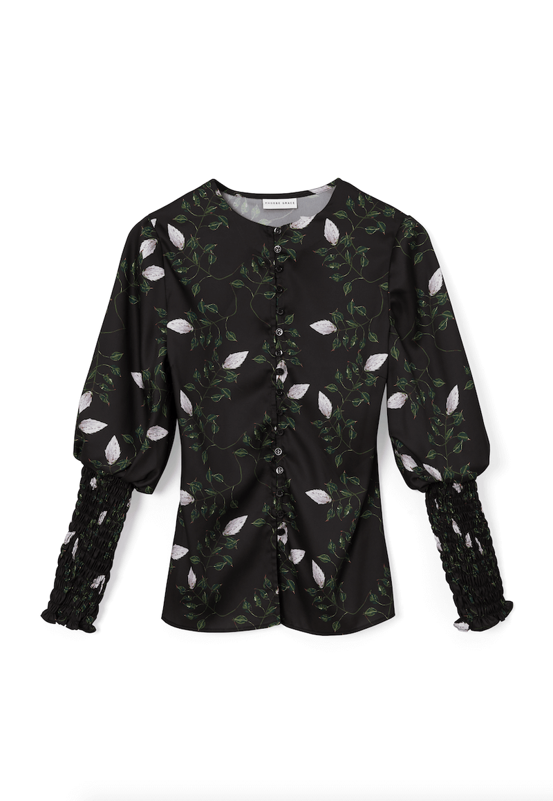 PHOEBE GRACE Tops GRACE Silk Twill Shirt with elasticated cuff Black Protea Bud