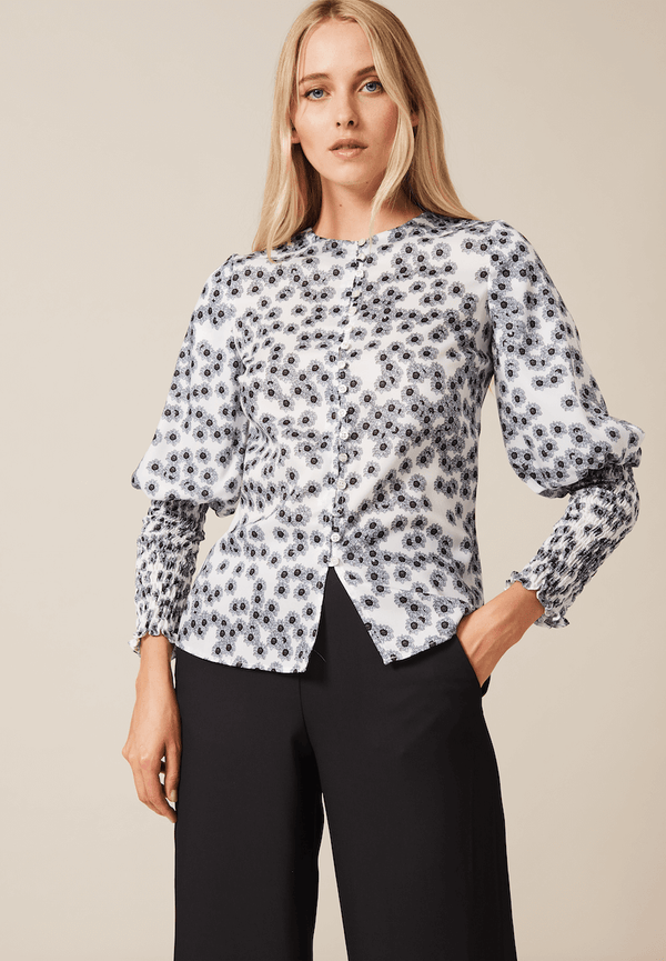 PHOEBE GRACE Tops GRACE Silk Twill Shirt with elasticated cuff in Blue and White Poppy