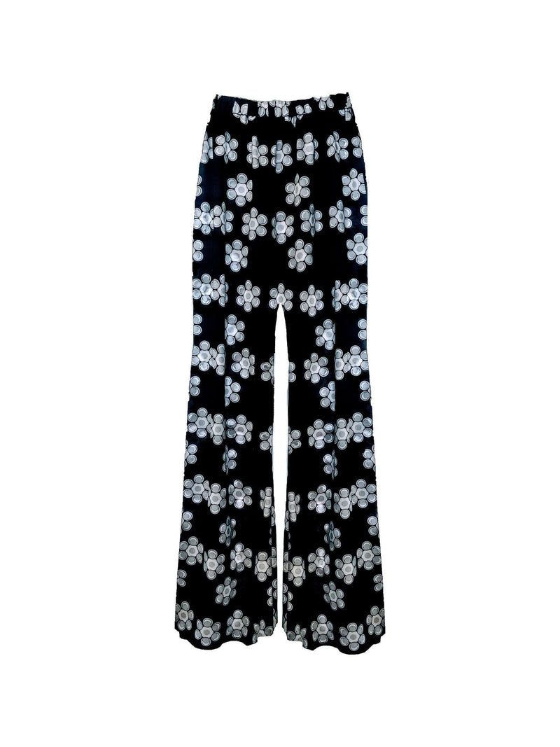 PHOEBE GRACE Trousers Peggy Palazzo Trouser in  Black and White Daisy