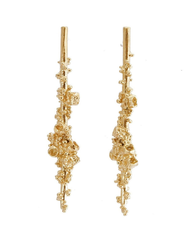 Shiran Salem Jewelry 14ct Gold Asymmetric Drop Gold Earrings with Granules