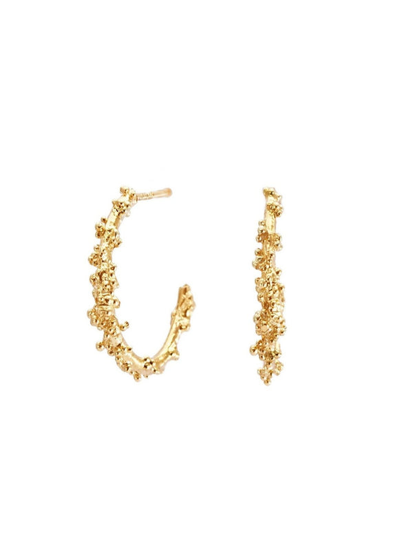 Shiran Salem Jewelry 14ct Gold Hoop Gold Earrings with Granules