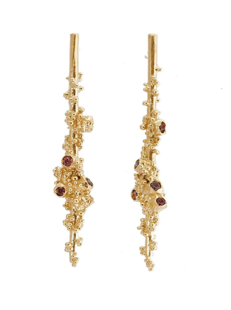 Shiran Salem Jewelry 14ct Gold Sapphire Drop Gold Earrings with Granules