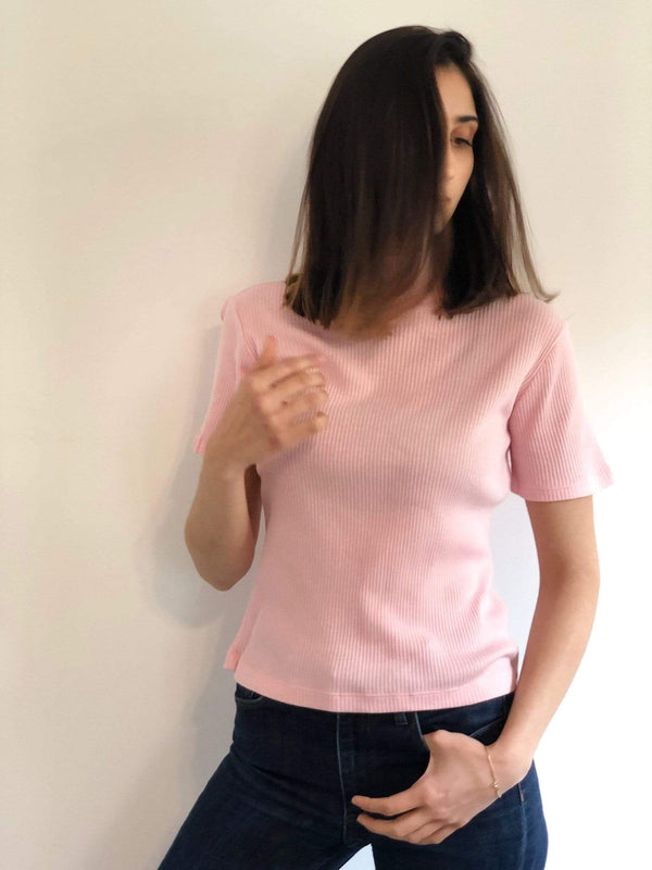 signe Tops Pink Rib Tee Turtle Neck