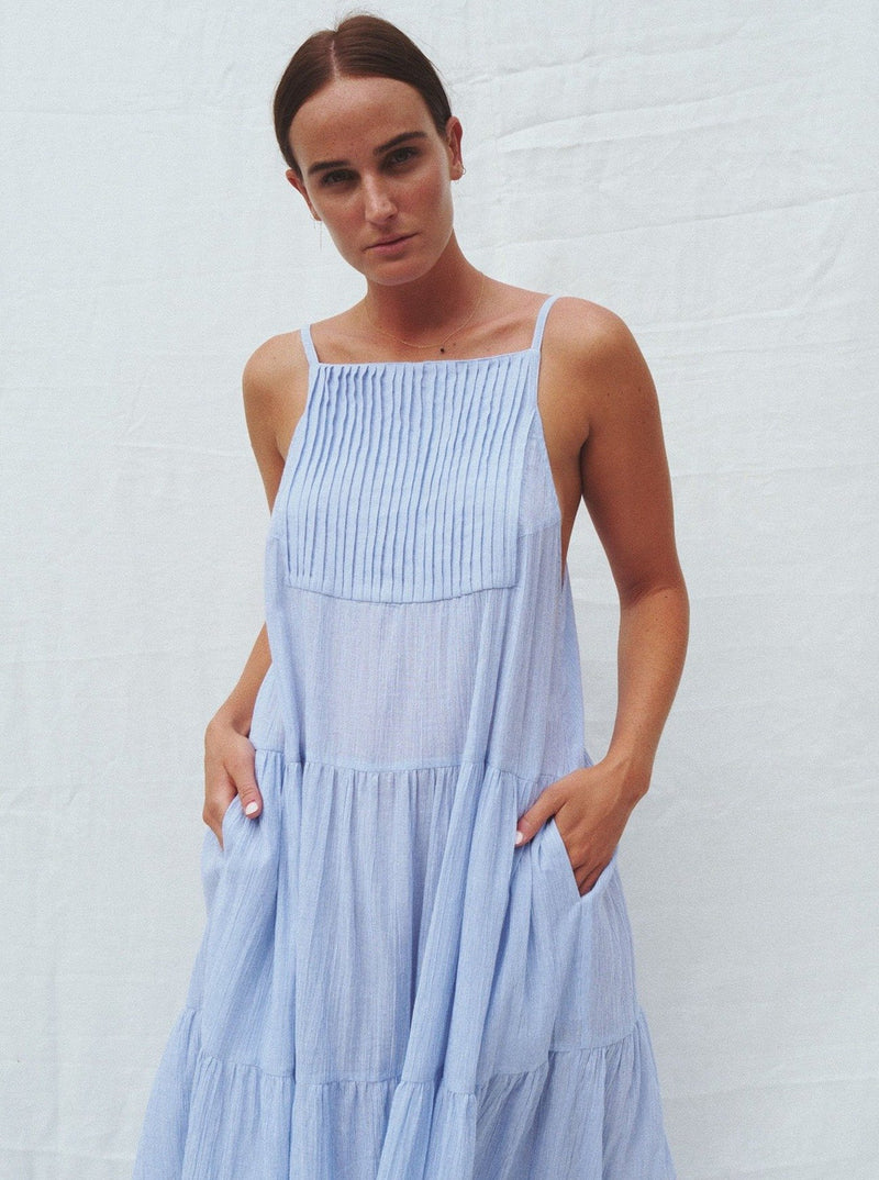 UNIK by us Dress Light Blue Pinstripe Austen Tiered Maxi Dress