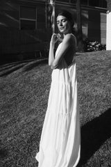 UNIK by us Dress White Austen Tiered Maxi Dress