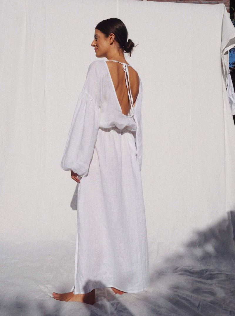 UNIK by us Dress White Kaspara Billowed Sleeve Linen Dress