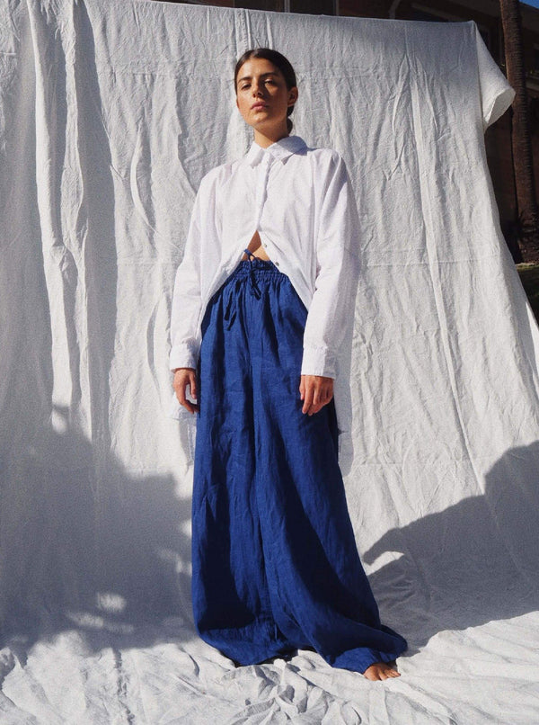UNIK by us Pants Pop Blue Jonathan Wide Leg Linen Pants