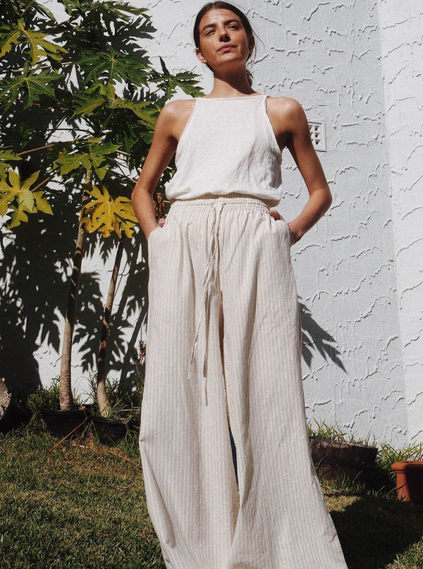 UNIK by us Pants Sand Stripe Jonathan Wide Leg Pants