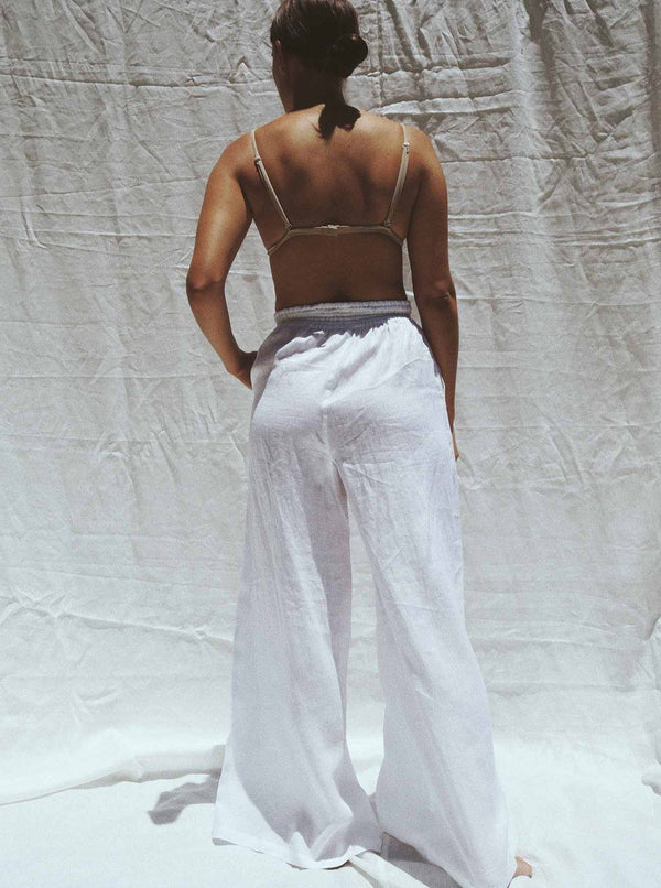 UNIK by us Pants White Jonathan Wide Leg Linen Pants