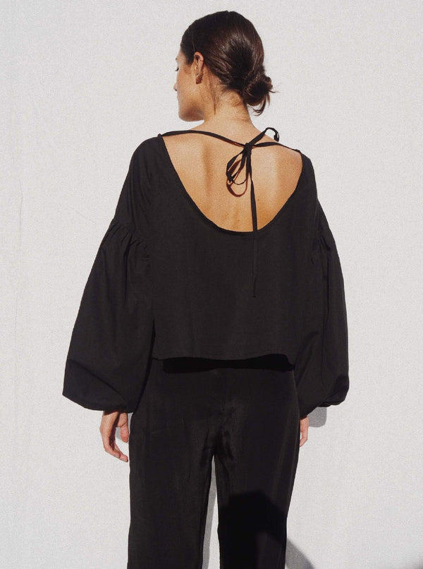 UNIK by us Shirt Black Charlotte Billowed Sleeve Blouse