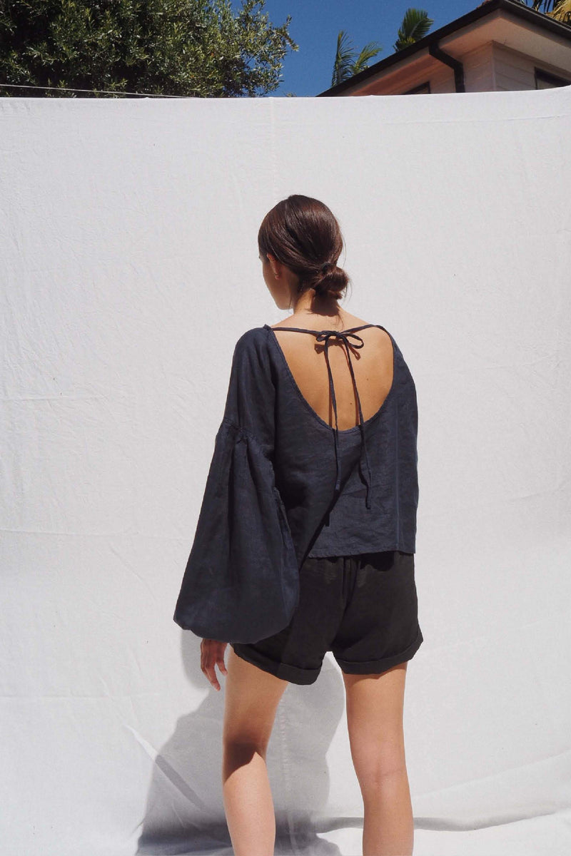 UNIK by us Shirt Indigo Charlotte Billowed Sleeve Linen Blouse