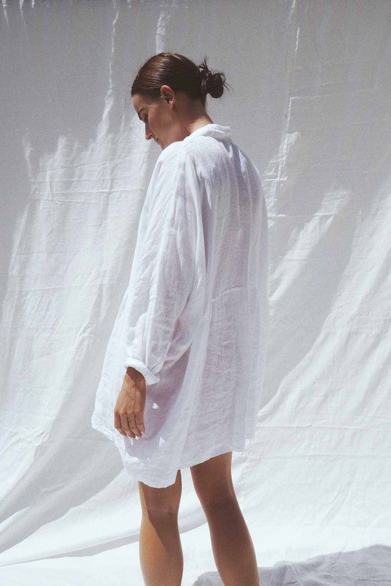 UNIK by us Shirt one size White Byron Oversized Linen Shirt
