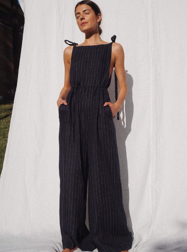 UNIK by us Sustainable Jumpsuit Navy Pinstripe Wilde Herringbone Linen Jumpsuit