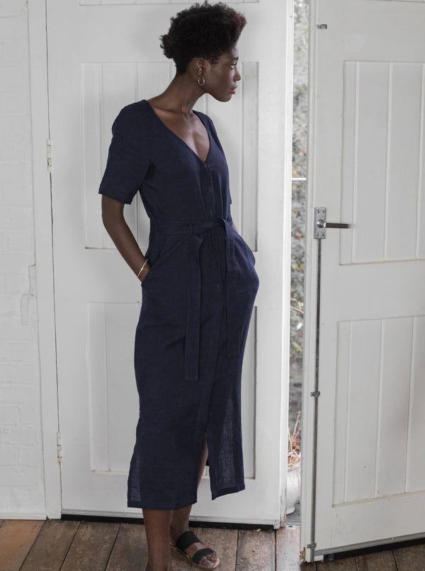 Veryan Dresses Navy / 34 Navy Linen Midi Dress