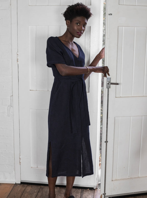 Veryan Dresses Navy Linen Midi Dress