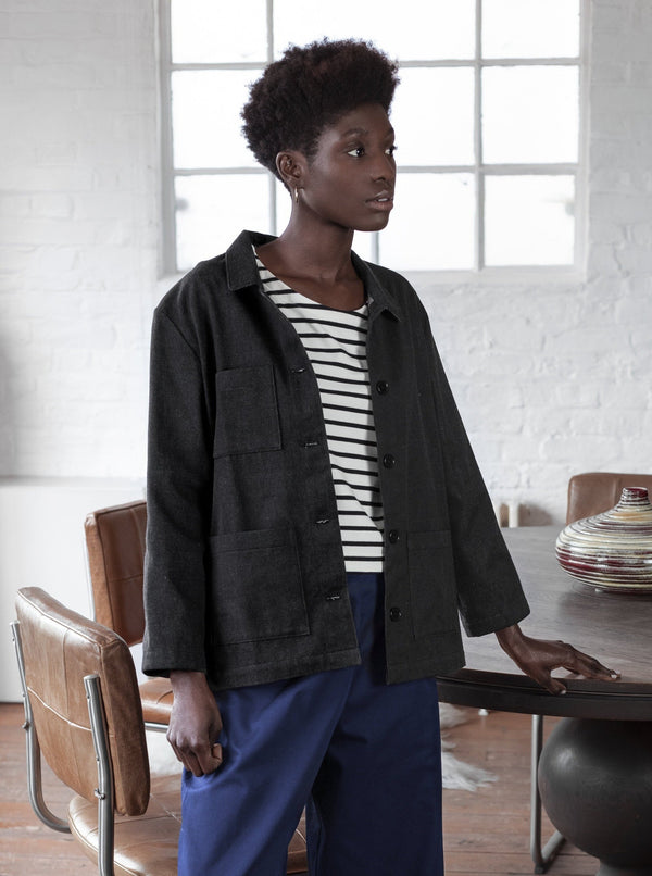 Veryan Jackets Black Denim Workwear Jacket