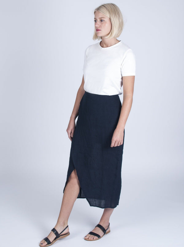 Veryan Skirts Navy / 34 Navy Wrap Skirt