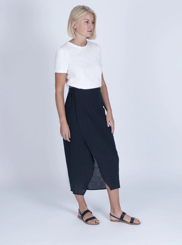 Veryan Skirts Navy Wrap Skirt