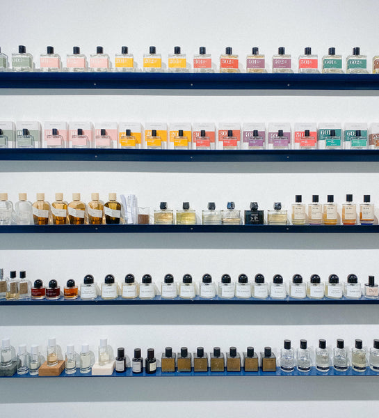 Perfume shelves of Woodberg concept store