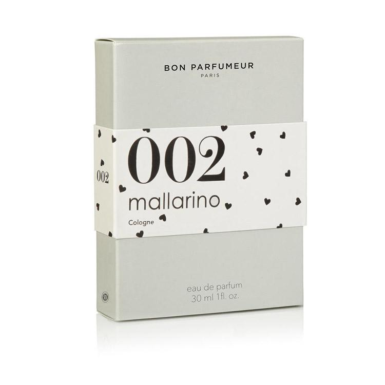 002 neroli, jasmine, white amber Mallarino's collaboration 30ml packaging