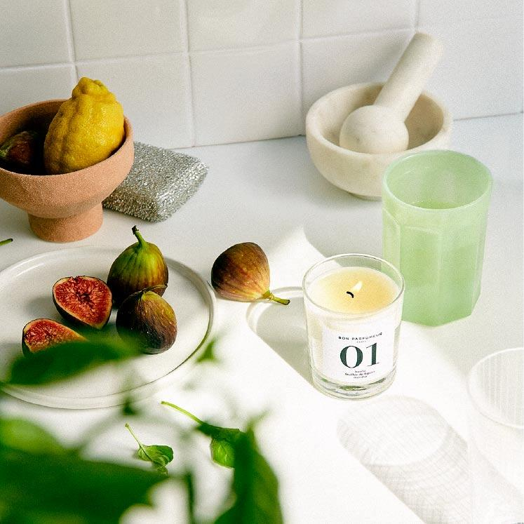 Candle 01: basil, fig leaves, mint Bon Parfumeur