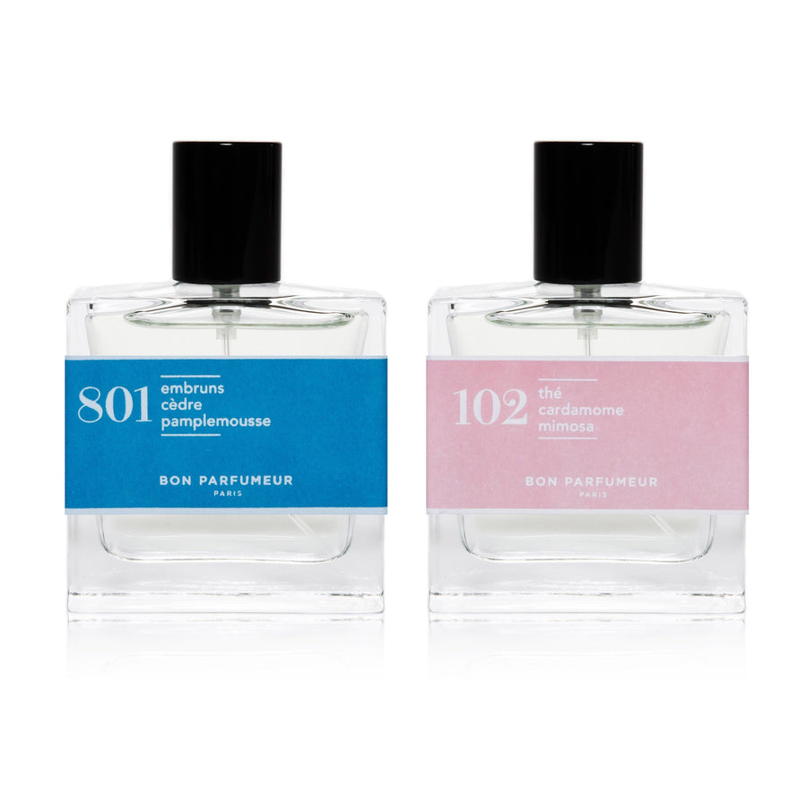 801 Sea spray, cedar, grapefruit 102 Tea, cardamom, mimosa 30ml Mix and match set