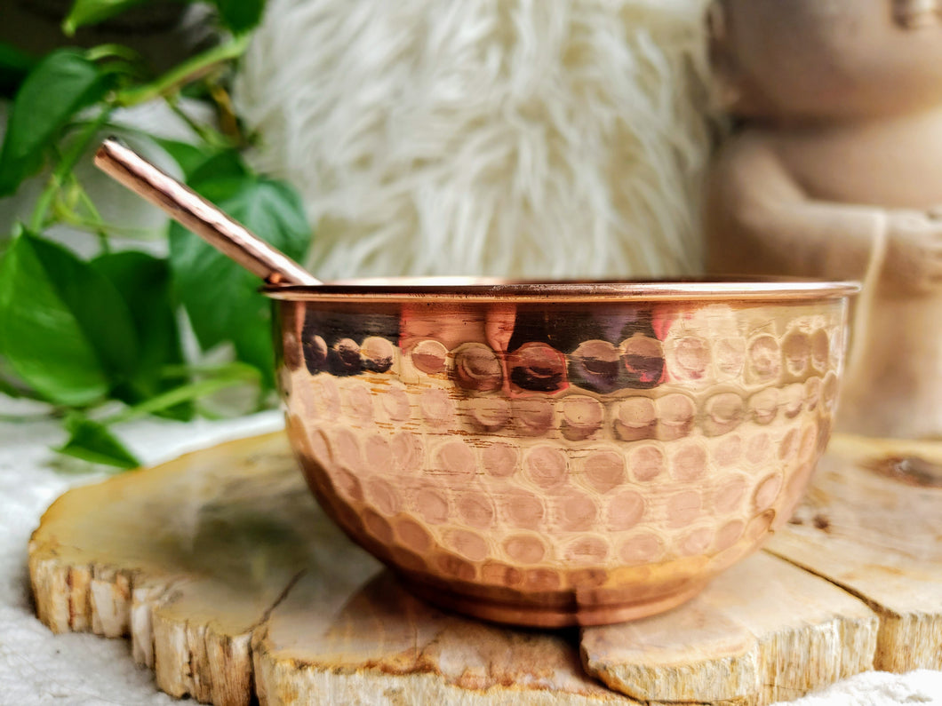 Hand-Hammered Copper Burn Bowl w/ Incense Spoon