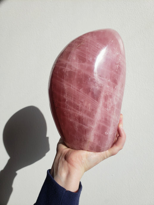 XL Polished Rose Quartz Freeform from Madagascar