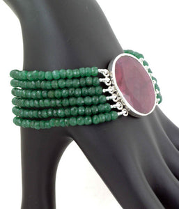 Ruby and Five String Emerald Bracelet - KindCause-BeKind