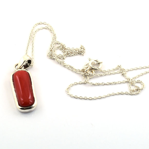 Natural Red Coral Gemstone Pendant