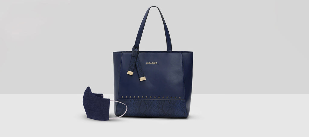 Navy Blue Pair - Mask & Handbag