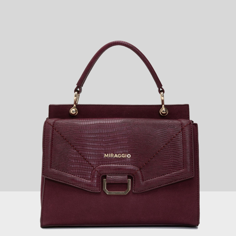 MIRAGGIO Annika Women's Satchel Handbag (Wine) With Ring