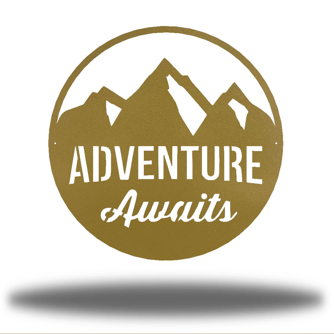 "Gold steel decorative signage with mountain designs and the text ""ADVENTURE Awaits"" laser cut through it"