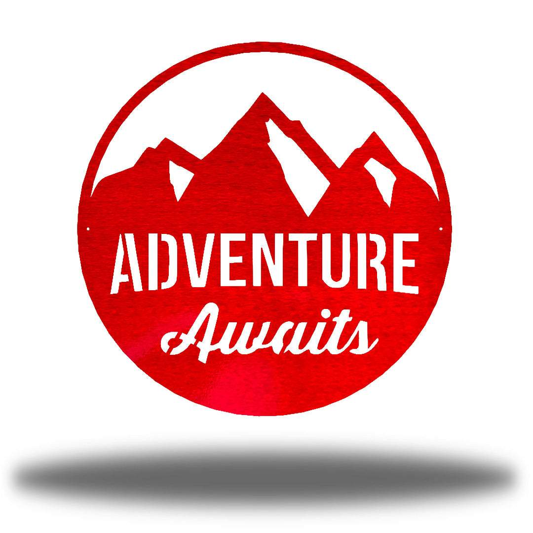 "Red steel decorative signage with mountain designs and the text ""ADVENTURE Awaits"" laser cut through it"