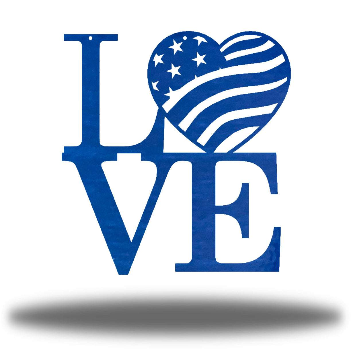 "Blue steel decorative sign that spells ""LOVE"" where 'O' is a heart-shaped USA flag"