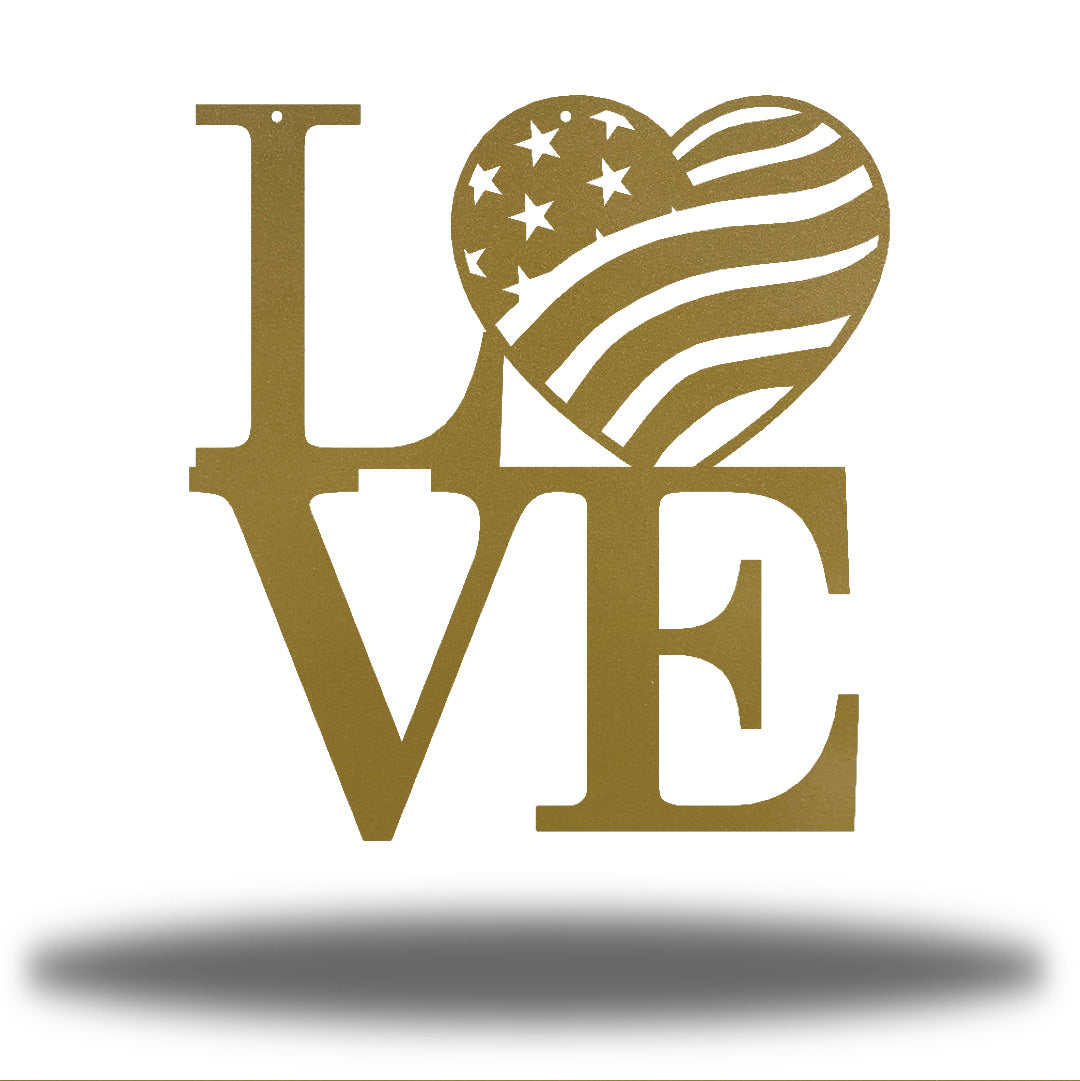 "Gold steel decorative sign that spells ""LOVE"" where 'O' is a heart-shaped USA flag"